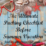 blue board with summer items - Summer Vacation Packing Checklist