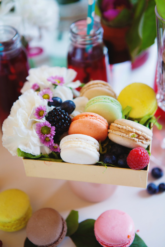 Box of macarons and lemonade with berries and flowers - blessings from infertility