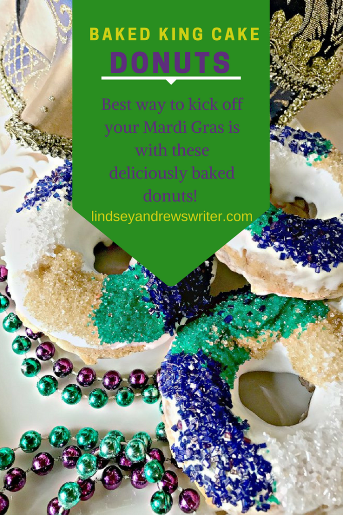 purple and green sprinkled donuts - king cake donuts