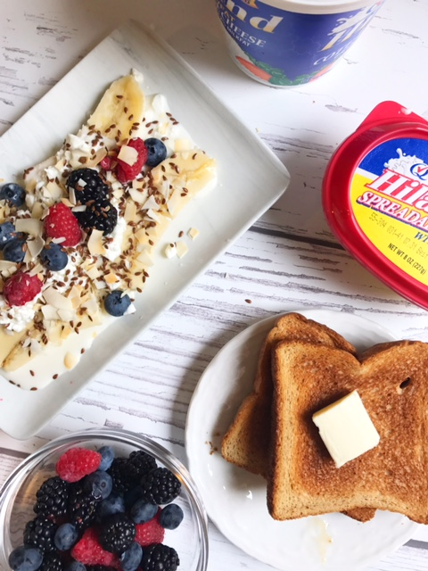 breakfast scene with toast and banana splits - meal planning