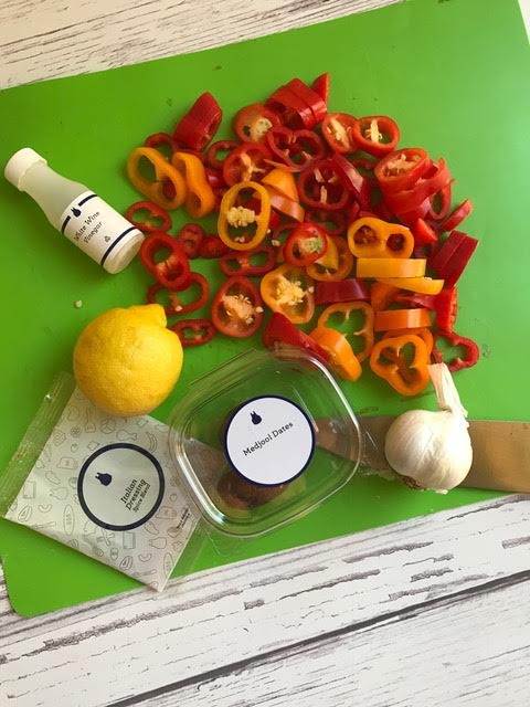 chopped peppers and fresh lemons - blue apron meal planning