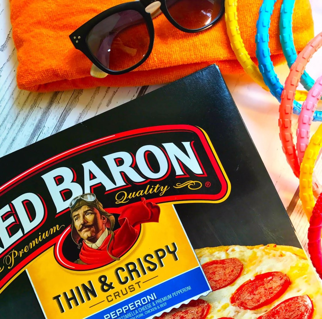 pizza box beach towel and sunglasses - nailing motherhood